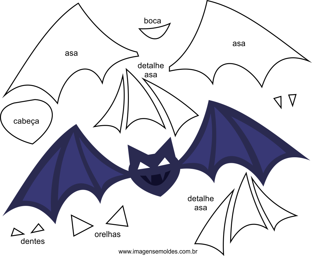 Molde de Morcego para EVA Feltro e Artesanato 2,  Molde de fieltro de murciélago - EVA y manualidades, Filz Fledermausform - EVA und Kunsthandwerk, Felt Bat Mold - EVA and Crafts