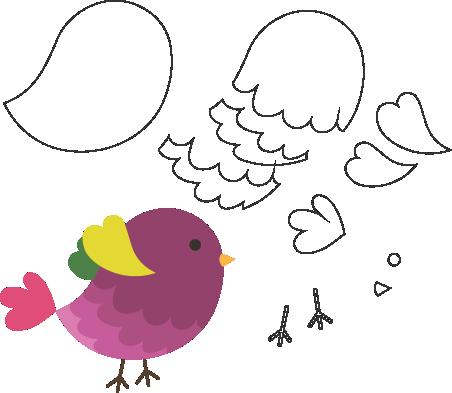 Molde de Passarinho para Feltro – EVA e Artesanatos, Felt Bird Mold - EVA and Crafts, Molde de fieltro para pájaros - EVA y manualidades, Filz Vogelform - EVA und Kunsthandwerk