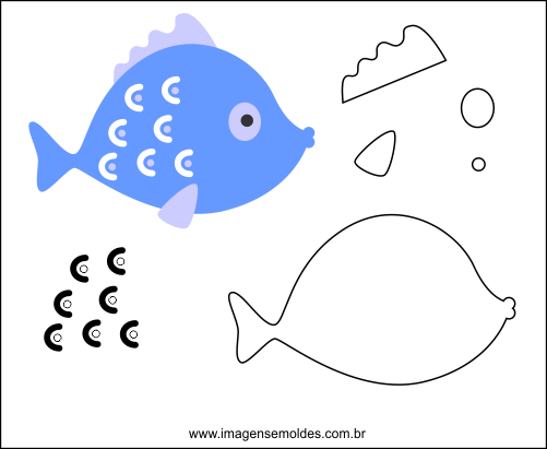Molde de Peixe para Feltro - EVA e Artesanatos, Filz Fischform - EVA und Kunsthandwerk, Molde de fieltro para peces - EVA y manualidades, Felt Fish Mold - EVA and Crafts
