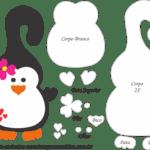 Molde de Pinguim Flor Porta Maçaneta para Feltro – EVA e Artesanato