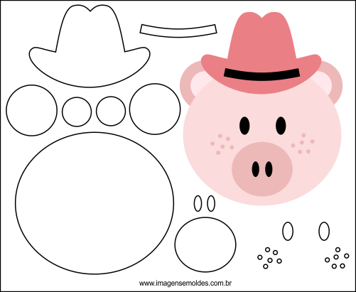 Molde de Porco para EVA Feltro e Artesanato 1