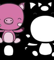 Molde de Porco para EVA Feltro e Artesanato 2