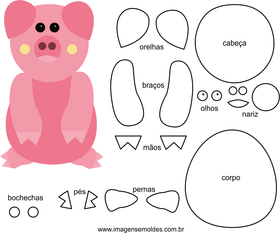 Molde de Porco para EVA Feltro e Artesanato, Molde de fieltro de cerdo - EVA y manualidades, Filz Schwein Schimmel - EVA und Kunsthandwerk, Felt Pig Mold - EVA and Crafts