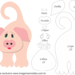 Molde de porco Porta Maçaneta para Feltro – EVA e Artesanato