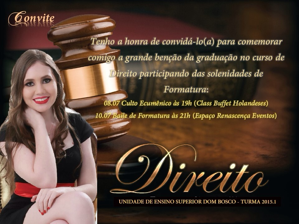 Modelos De Convites De Formatura De Direito