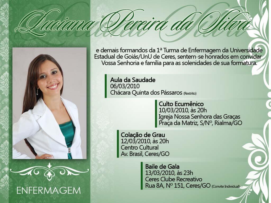 convite para formatura de enfermagem