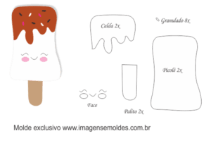 Molde Doces -Picolé Calda - Molde para EVA - Feltro e Artesanato