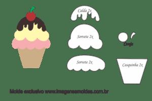 Molde Doces -Sorvete Casquinha - Molde para EVA - Feltro e Artesanato