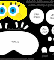 Molde Máscara de Dormir Bob Esponja - Molde para EVA e Feltro e Artesanato
