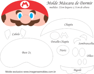 Molde Máscara de Dormir Mario Bros - Molde EVA e Feltro