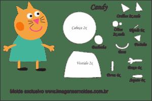 Molde Peppa Pig - Candy - Molde para EVA - Feltro e Artesanato
