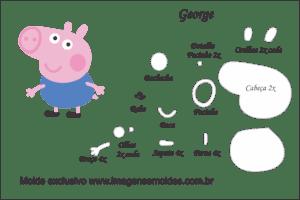 Molde Peppa Pig - George - Molde para EVA - Feltro e Artesanato