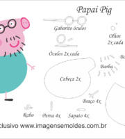 Molde Peppa Pig - Papai Pig - Molde para EVA - Feltro e Artesanato