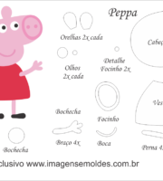 Molde Peppa Pig - Peppa - Molde para EVA - Feltro e Artesanato