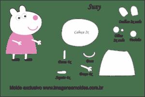 Molde Peppa Pig - Susy - Molde para EVA - Feltro e Artesanato