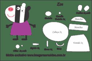 Molde Peppa Pig - Zoe - Molde para EVA - Feltro e Artesanato