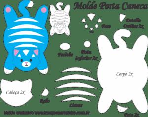 Molde Porta Caneca Gato Azul- Molde para EVA - Feltro e Artesanato