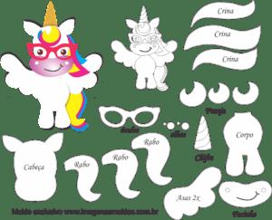 Molde De Unicornio Oculos Para Feltro Eva E Artesanato