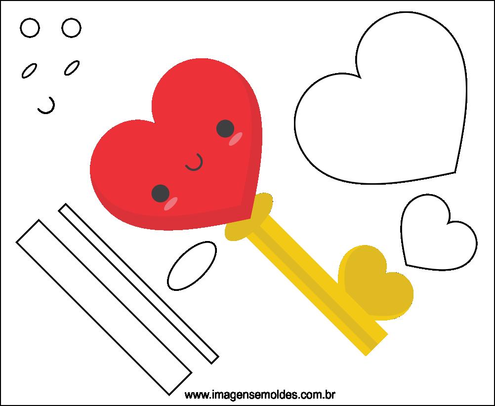 Molde do Dia dos Namorados para EVA Feltro e Artesanato 5