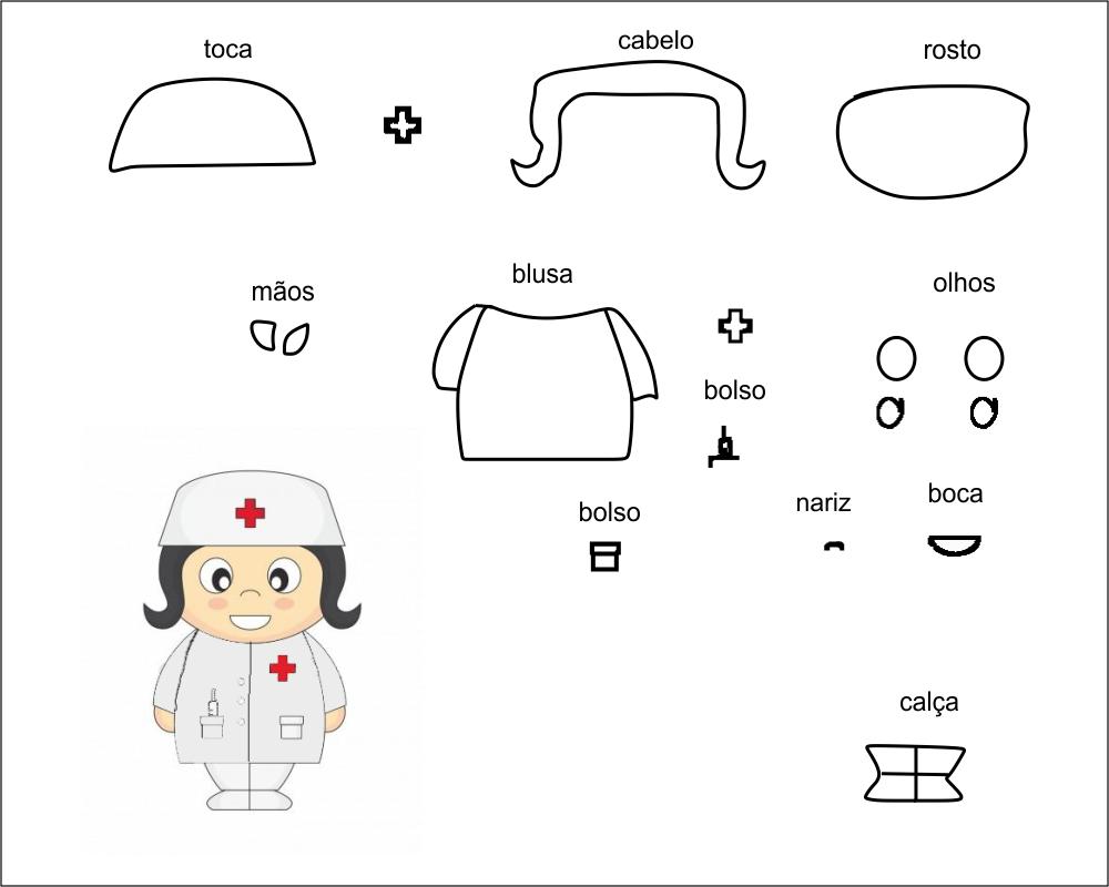 molde de enfermeira para eva-feltro e artesanatos
