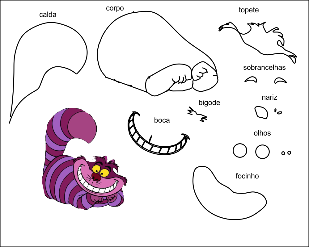 molde personagem gato para eva-feltro e artesanatos