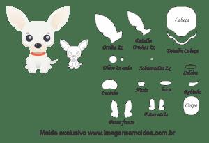 Molde Animais - Chihuahua Scrap - Moldes de EVA - Feltro e Artesanato, dog mold, Hundeschimmel, molde de perro