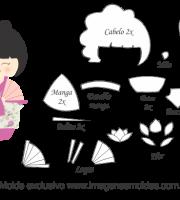 Molde Kokeshi - Floral Rosa - Moldes de EVA - Feltro e Artesanato