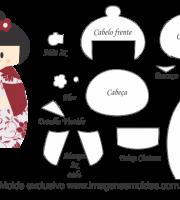 Molde Kokeshi - Floral Vermelho - Moldes de EVA - Feltro e Artesanato