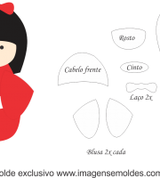 Molde Kokeshi - Vermelha - Moldes de EVA - Feltro e Artesanato