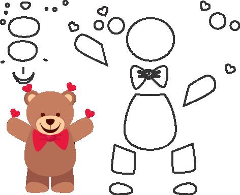 Molde de ursinho para eva - feltro e artesanatos, molde de oso de peluche, Teddybär Schimmel, teddy bear mold
