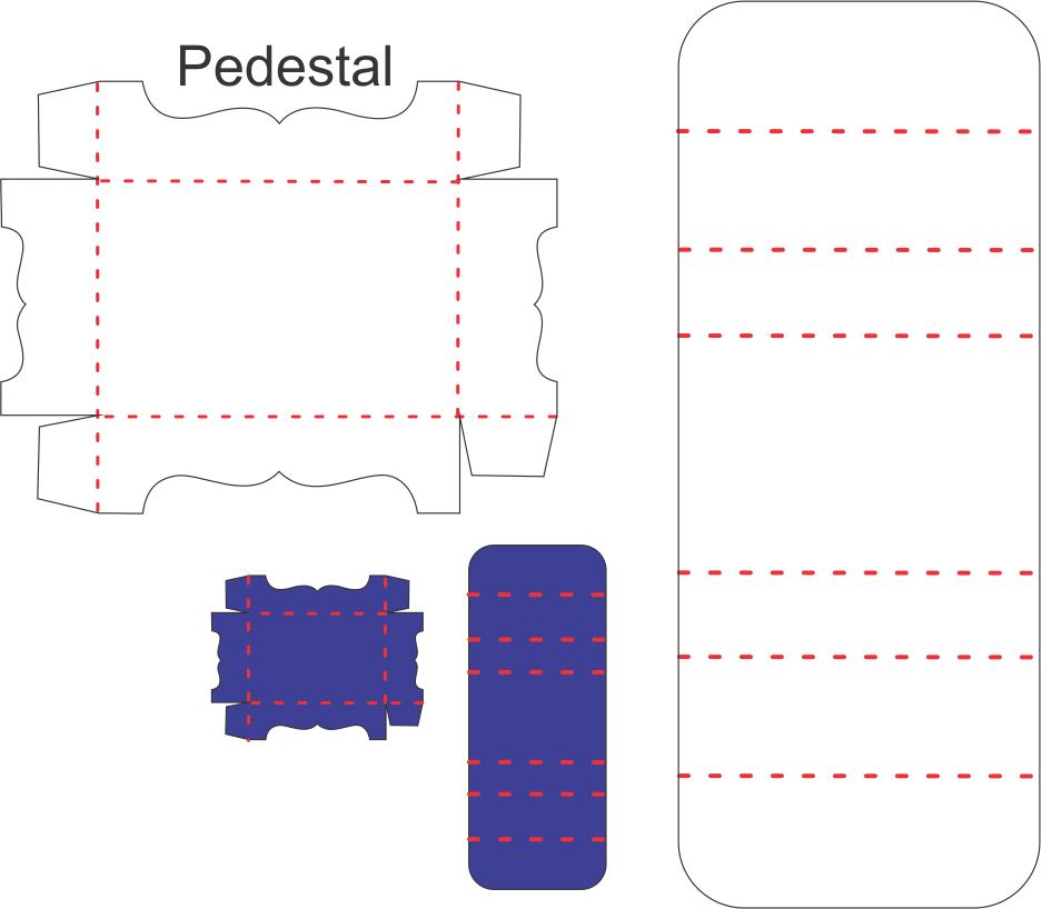 Porta bis duplo com pedestal - Molde de Caixa para Corte, cut box mold, Kastenform schneiden, molde de caja cortada