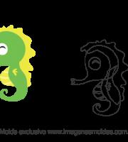 Molde Fundo do Mar - Cavalo Marinho - Molde para EVA - Feltro e Artesanato