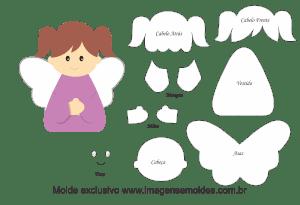 Molde Natal - Anjinha - Moldes de EVA - Feltro e Artesanato