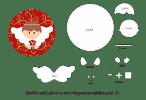 Molde Natal - Anjinho - Moldes de EVA - Feltro e Artesanato, Weihnachtsform, molde de navidad, christmas mold