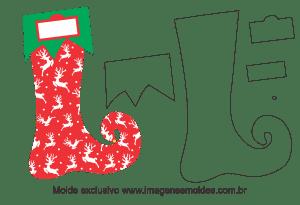 Molde Natal - Bota Duende - Moldes de EVA - Feltro e Artesanato, Weihnachtsform, molde de navidad, christmas mold