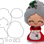 Molde de Natal Para E.V.A. Feltro e Artesanato – Mamãe Noel – 2