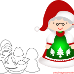 Molde de Natal Para E.V.A. Feltro e Artesanato – Mamãe Noel – 4