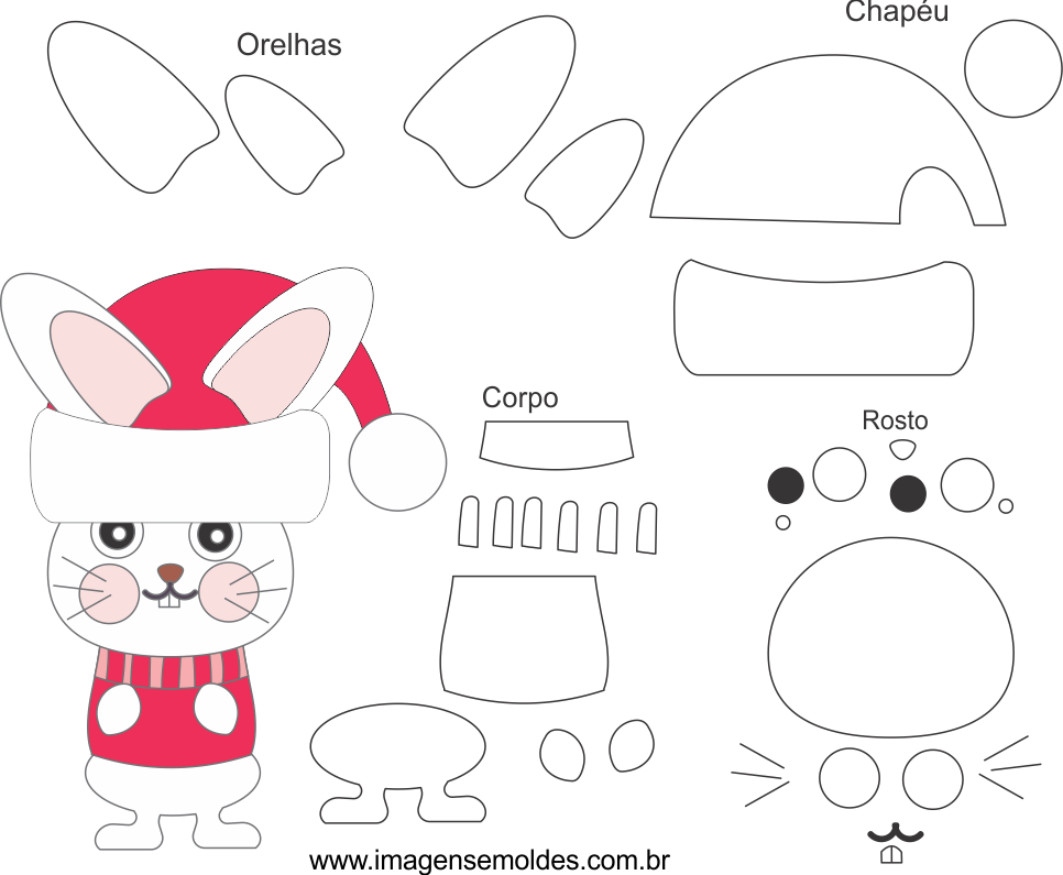 Molde de Natal para Eva, Feltro e Artesanato-Bichinho 3,Weihnachtsform, molde de navidad, christmas mold