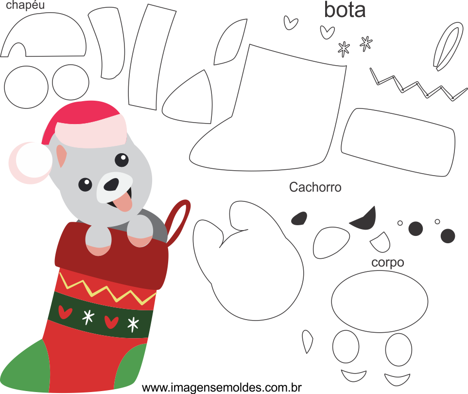 Molde de Natal para Eva, Feltro e Artesanato-Bichinho 1, Weihnachtsform, molde de navidad, christmas mold