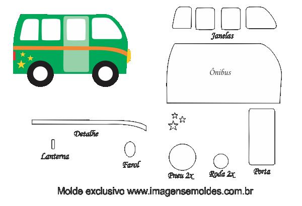 Molde Transportes ônibus Para Feltro Eva E Artesanato