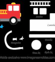 Molde Transportes - Bombeiro - para EVA, Feltro e Artesanato