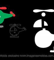 Molde Transportes - Helicóptero 3 - para EVA, Feltro e Artesanato