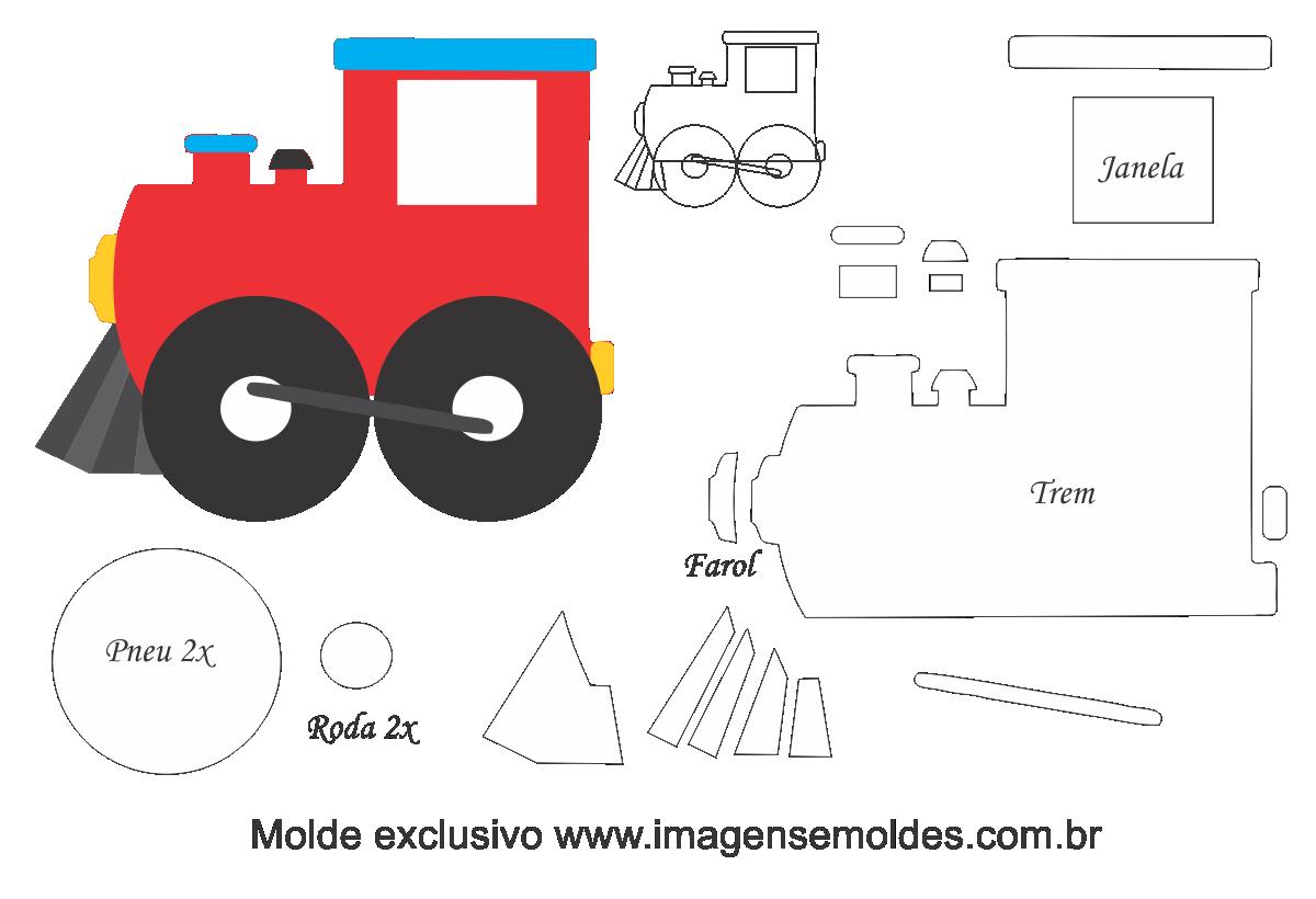 Molde Transportes Trem 125 Moldes De Feltro Eva E Artesanato