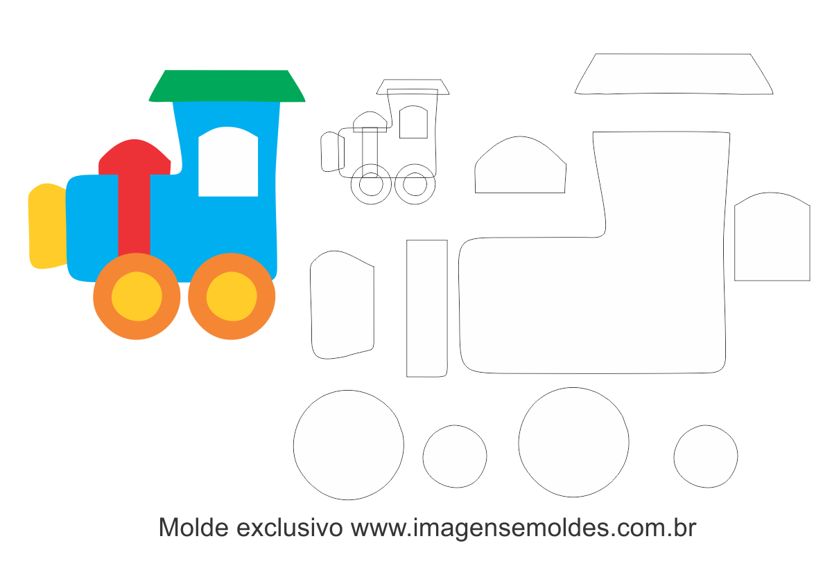 Molde Transportes Trem 325 Moldes De Feltro Eva E Artesanato