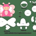 Molde de Animais Baby – Borboleta – para Feltro, EVA e Artesanato