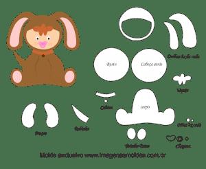Molde de Animais Baby - Cachorrinho - para EVA, Feltro e Artesanato, molde animal cachorro bebé, baby puppy animal mold, Baby Welpe Tier Schimmel