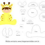 Molde de Animais Baby – Girafa – para Feltro, EVA e Artesanato