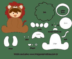 Molde de Animais Baby - Leão - para EVA, Feltro e Artesanato, Tierbabyform, Baby Animal Mold, Molde de Animais bebé