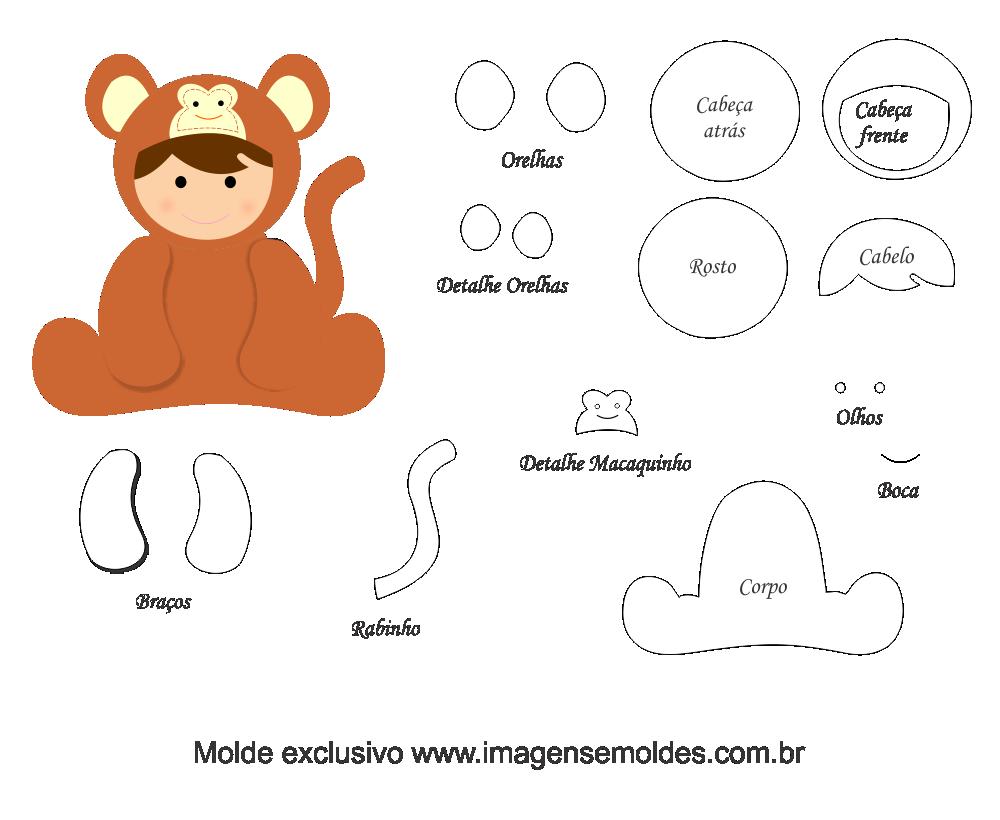189 Ideia De Molde De Animais Baby Macaco Para Feltro E Eva