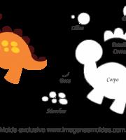 Molde de Bichinhos - Dinossauro 1 - para EVA - Feltro e Artesanato